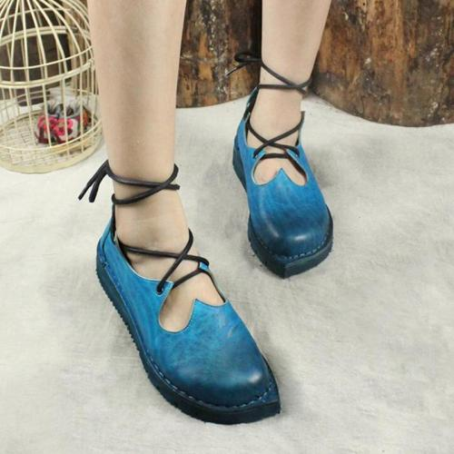 Blue Thick Lace Vintage Flats