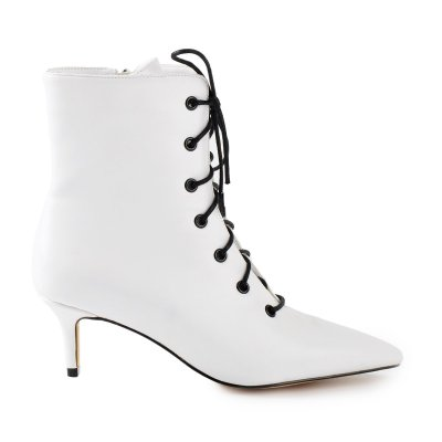 Kitten Low Heel Pointed Toe Lace Up White Ankle Boots