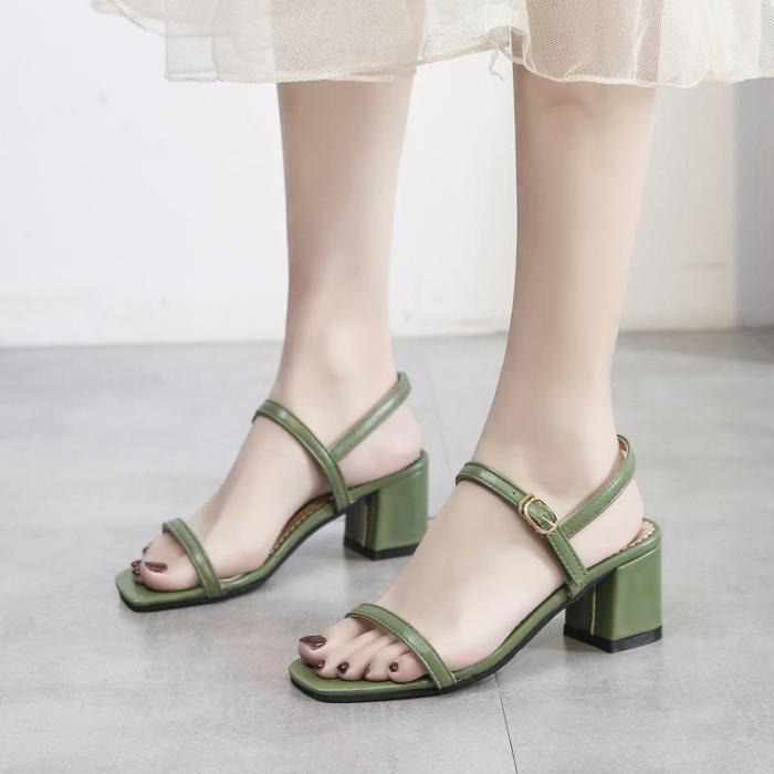 Sandals Women's Summer 2020 New Fashion High Heels Thick Heels Middle Heels Peep Toe One Word Buckle