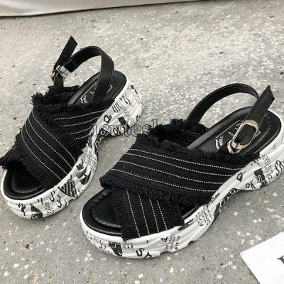 Open Toe Platform Shoes Women Sandals New Crossover Platform Thick Bottom Wedges