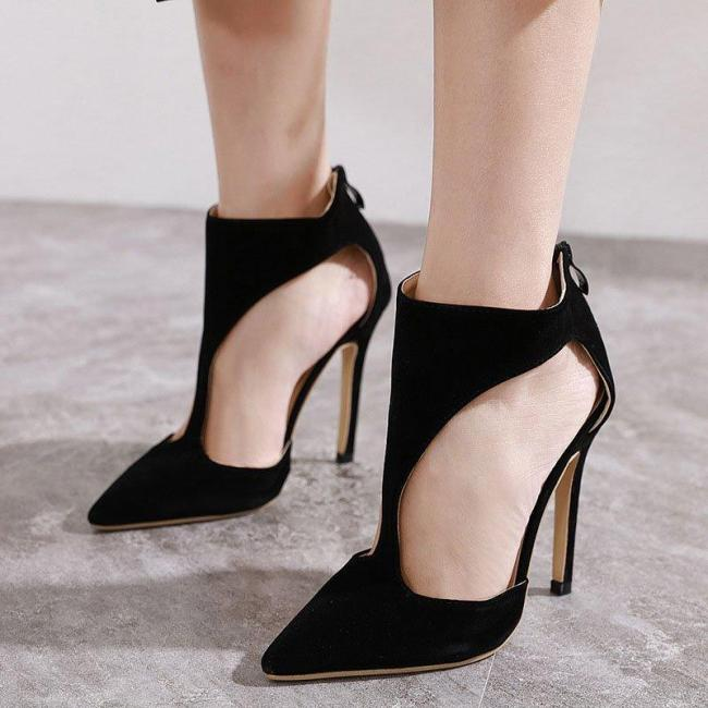 Black Suede Stiletto Heel Zipper Elegant Pumps