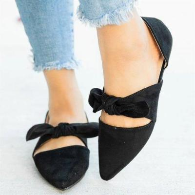Chic Bow Tie Style Closed Toe Flats Sandals