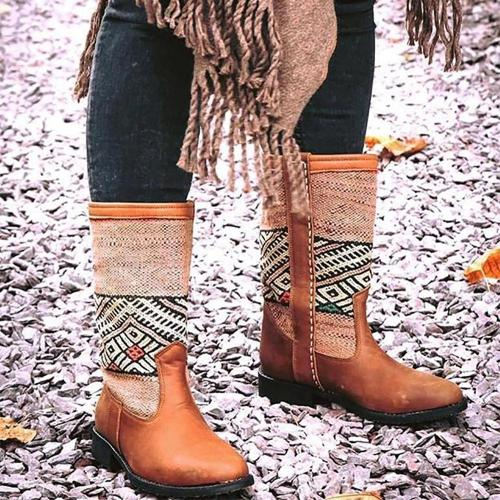 Personalized Warm Printed Leather Boots