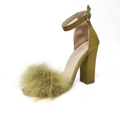Summer Sandals One Word Buckle Chunky Heel Fashionable All-around Women's High Heel Sandals