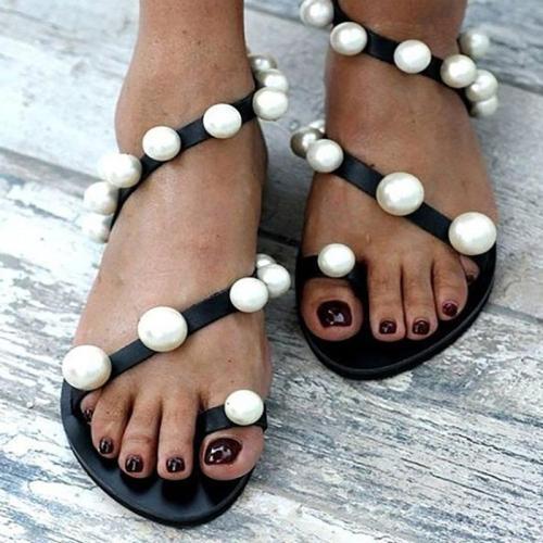 Women's PU Flip-flops Pearl Flat Sandals