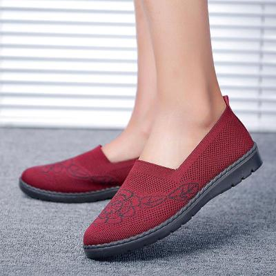 Women's Flyknit Breathable Loafers Fashion Slip On Walking Shoes