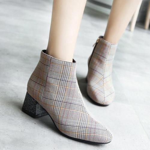 Women Elegant Plaid Print Side-zipper Chunky Heel Boots