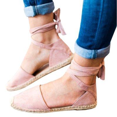 Staw-woven Flat Lace-up Women Plus Size Sandals