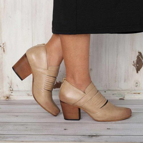 Chunky Heel Artificial Leather Daily Boots