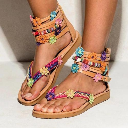 Women Summer Large Size Bohemian Zipper Flowers Handmade String Beads Flat Sandals