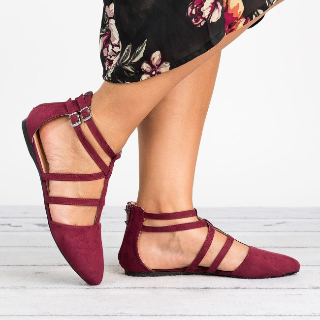 Strappy Faux Suede Burgundy Flats