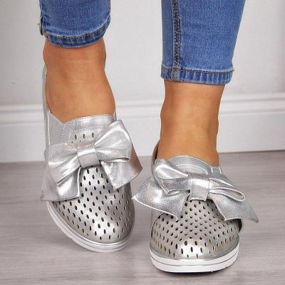 Women Wedge Heel Hollow Bow Sneakers Casual Shoes