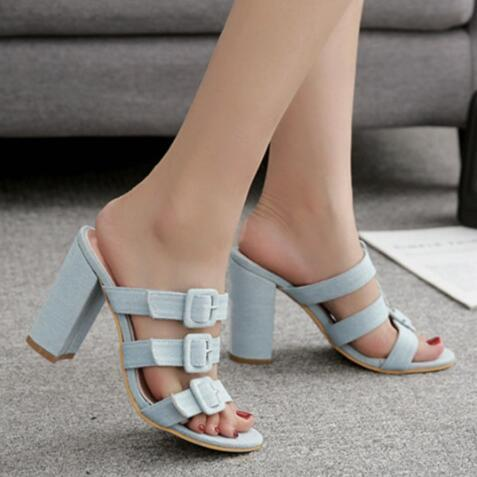 Plain Chunky High Heeled Peep Toe Casual Date High Heel Slippers