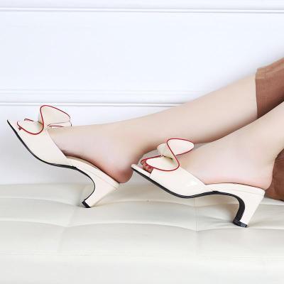 Leather Slippers Mules Butterfly Knot Modern Design Chunk High Heels Peep Toe Ladies Flip Flops