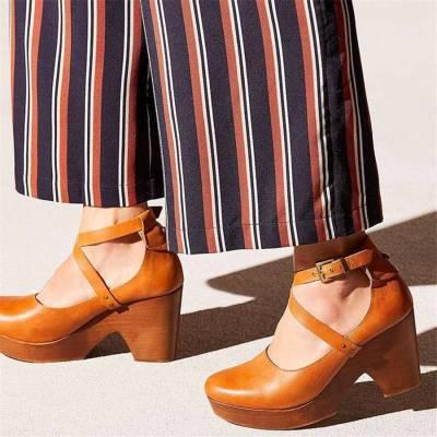 Fashion Retro Round Head High   Heels