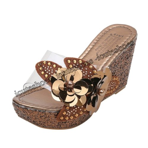 Fashion Women Summer Rhinestone sequins Sandals Roman Wedges Casual Beach Shoes Casual