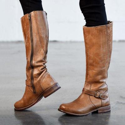 Womens Artificial Leather Zipper Daily Vintage Boots