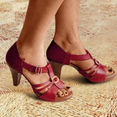 Hollow Buckle High Heels Stilettos Sandals