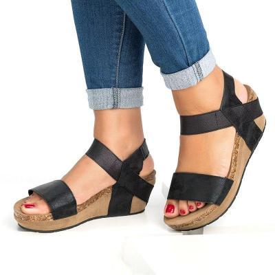 Wedge Platform Heel Sandals Open Toe Wide Ankle-Strap Casual Summer Women Shoes