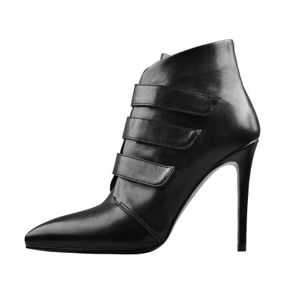 Pointed Black Matt Leather Triple Buckle High Heel Ankle Boots