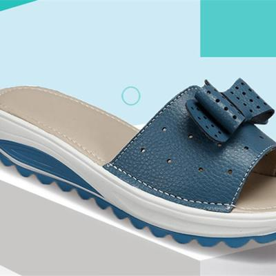 Leather Women Flats Shoes Platform Wedges Female Slides Beach Flip Flops