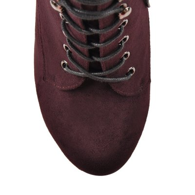 Burgundy Lace-up Suede Platform Wedges Boots