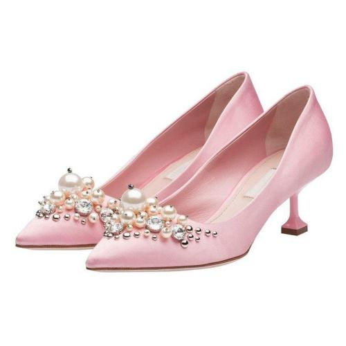 Imitation Pearls Pointed Toe Satin Wedding Shoes