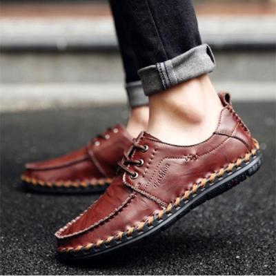 Men Hand Stitching Non-slip Casual Lace-up Flat Shoes