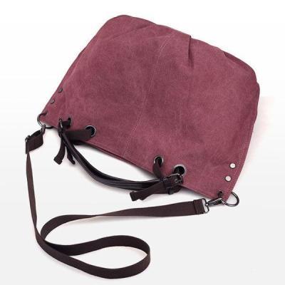 Canvas Retro Large Capacity Handbag Solid Portable Crossbody Bag