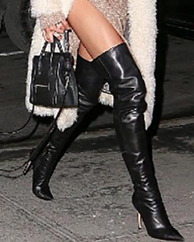 Fashion PU Pointed Toe Stiletto Boots