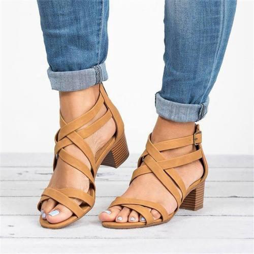 Chunky Heel Round Toe Casual Pu Sandals