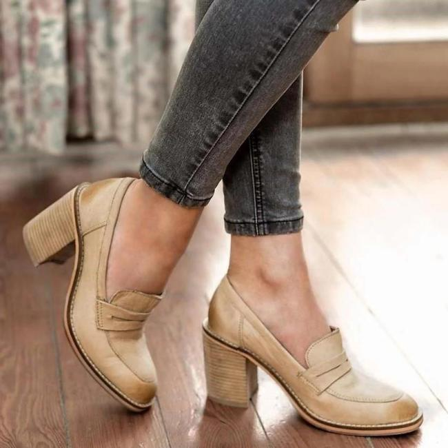 Elegant Fashion Leather High Thick Heel Shoes