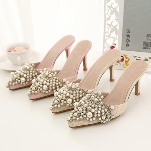 Daily Imitation Pearl Elegant Slippers