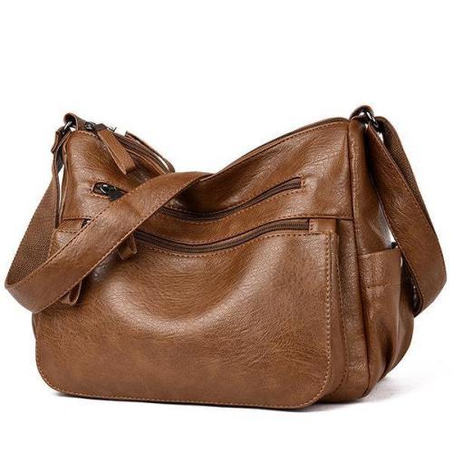 Soft PU Solid Hobos Crossbody Bag Multi-Slot Shoulder Bag