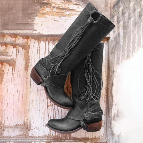 Women Vintage Tassel Knot Knee High Boots