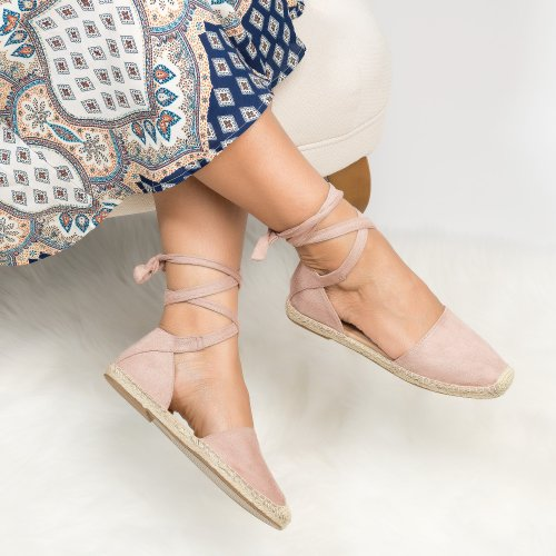 Lace up Espadrille Flats - Mauve