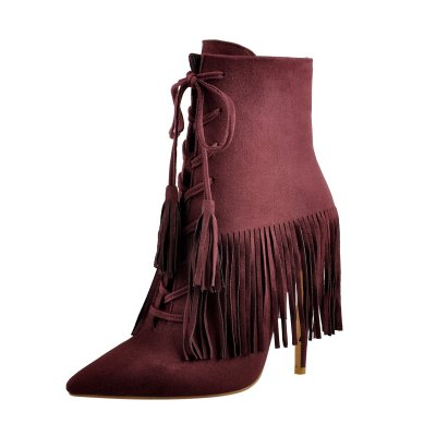 Suede Tassel Pointed Toe Stiletto Heels Ankle Boots