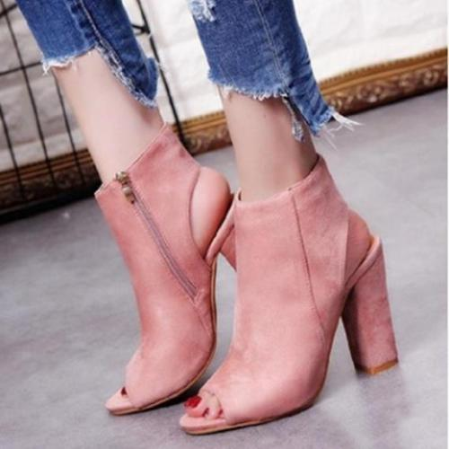 Summer Elegant Peep Toe High Tube Side Zip Sky-High Chunky Sandals