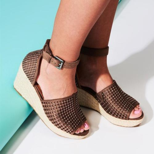 Interlace Ankle Strap Buckle Wedges Sandals