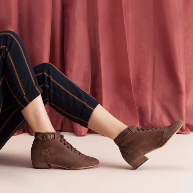 Lace-Up Buckloe Low Chunky Buckle Ankle Booties