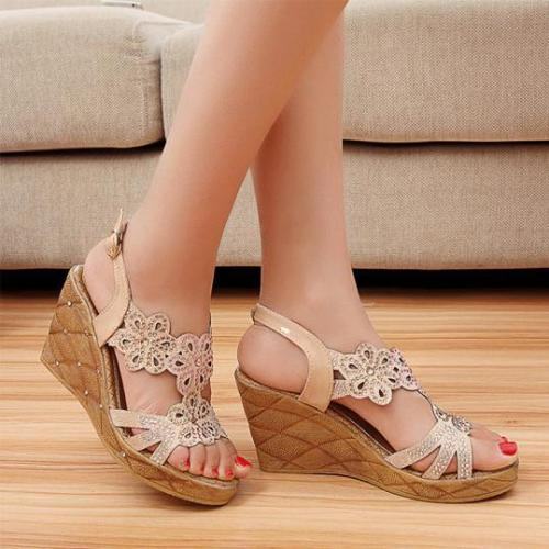 Hollow Out Peep Toe Date Wedge Sandals