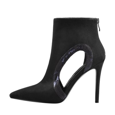 Pointed Toe Side Hollow Stiletto High Heels Ankle Boots