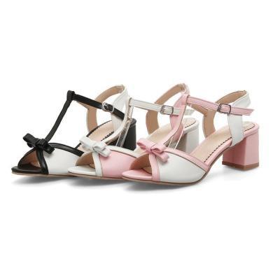 Sweet Bowknot Chunky Heel Peep Toe Sandals