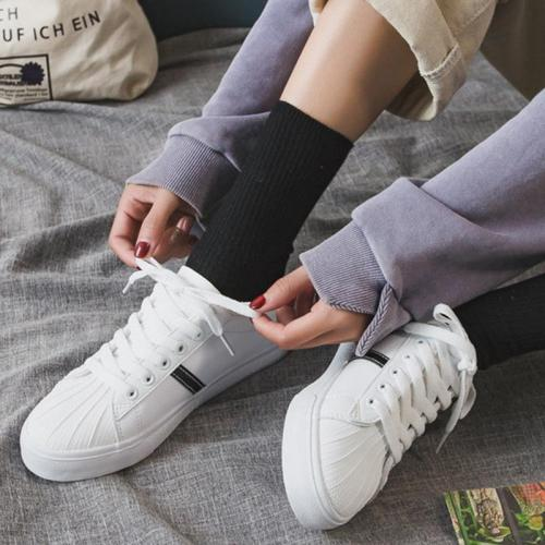 Street Style Flat Artificial Leather Upper Student Sneakers