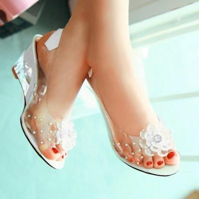 Girly Crystal See-Through Rhinestone Flower Wedges Sandals