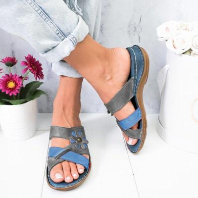 Women Flowers Summer Low Heel Pu Holiday Slippers Sandals