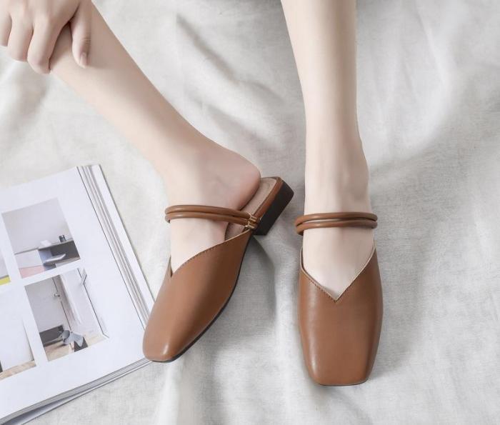 Spot Summer Flat Slippers Women Cozy Muller Shoes Cross-border
