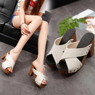 Strap Chunky Heel Thick High-Heeled Flip Flop Open Toe gladiator sandals
