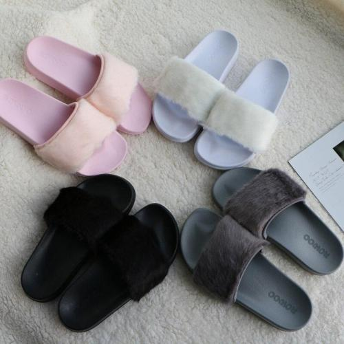 Slide Sandals Open Toe Fur Slippers Ladies Flat Shoes