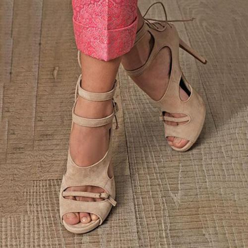 Suede Cutout Back Cross Straps Fashion High Heel Sandals
